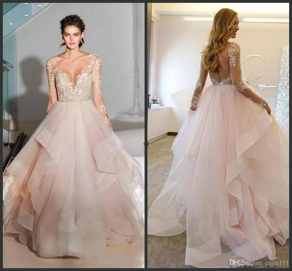 2019 new sexy spring ball gown blush wedding dresses with long sleeves  sheer lace appliques bridal gowns layered tulle vestido de noiva white  wedding
