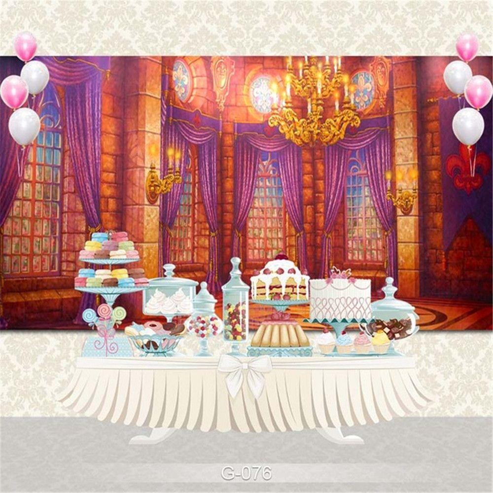 Innen Schloss Windows Hintergrun Printed Vorhänge Goldleuchter Kerzenlicht-Baby-Kindergeburtstag-Party Photo Booth Hintergrund