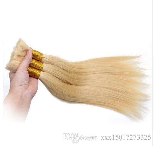 2018 NatureHere Human Braiding Hairs Bulk Straight European Hair Bulks Blond Bulk 100% Natural Raw Hair
