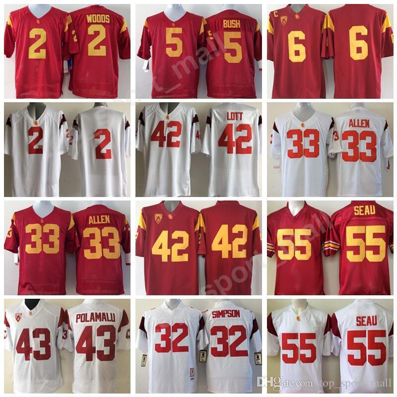 USC Trojans College Football Jerseys Allen Lott Woods Sanchez Seau Bush University PAC 12 Embroidery Team Red White Sports Hot Men