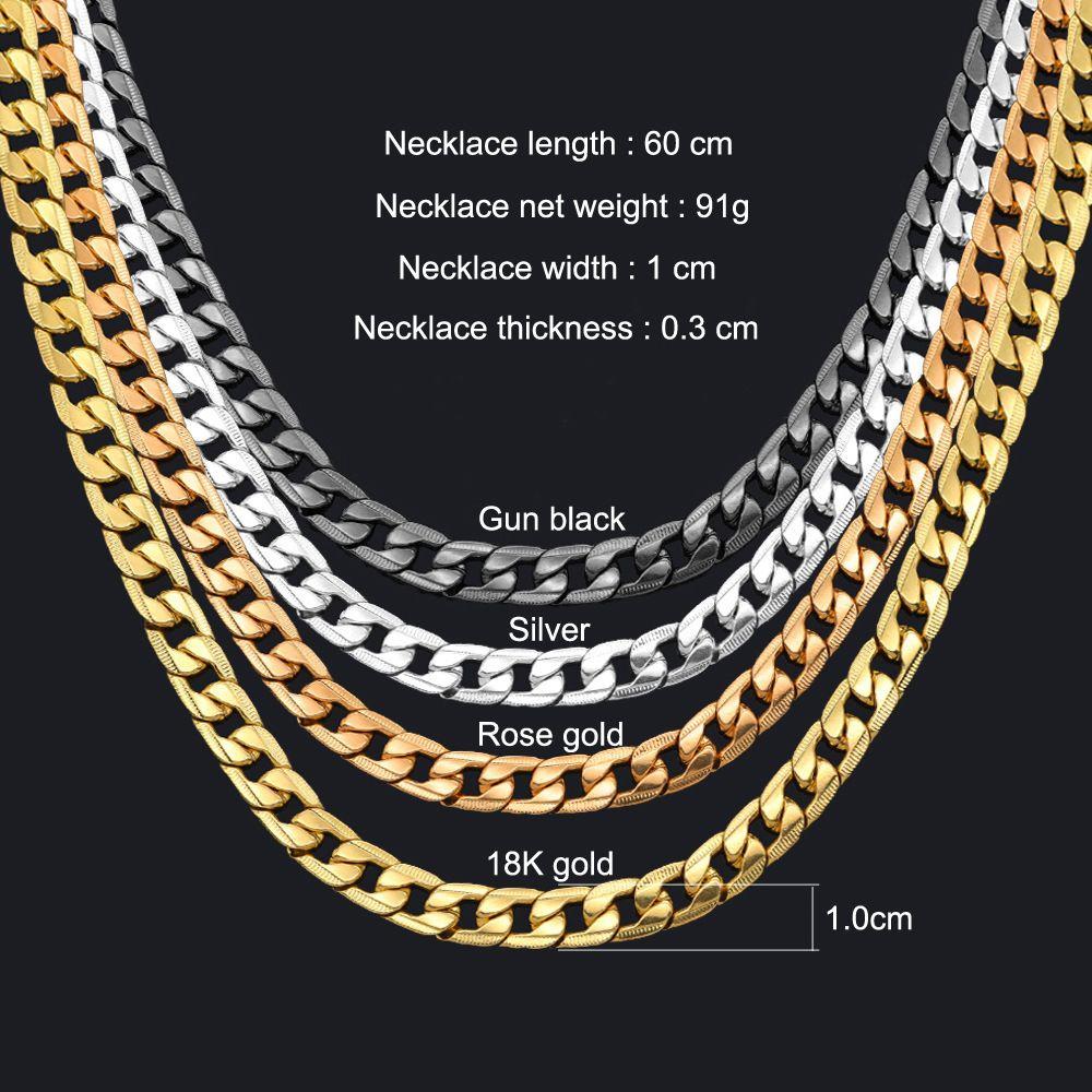 Collana a catena di collegamento Miami Cuban 1cm Argento / Gold Color Curb Catena per gioielli da uomo Corvente De Prata Masculina Collana da uomo all'ingrosso