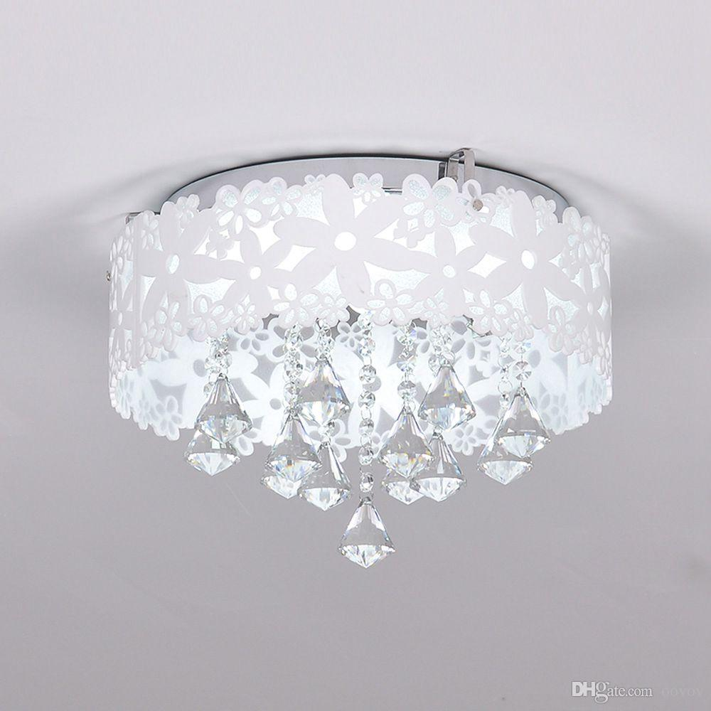 2020 Oovov 37cm White Flower Crystal Ceiling Lamp For Bedroom Princess Room Girls Room Ceiling Light 18w Led From Oovov 143 72 Dhgate Com