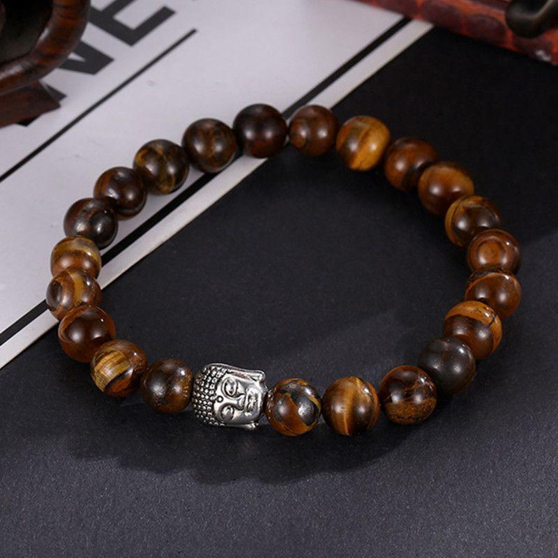 2019 New Unisex Fashion Buddha Bracelet Tigereye Beads Elephant Owl Lion Skull Bangles For Friend Gift