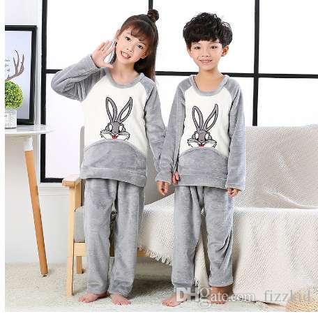 фланель пижамы костюм для детей 2018 осень зима коралловый флис дети пижамы наборы мальчиков и девочек милый пижамы Baby lounge набор