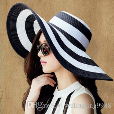 Summer Women's Sun Hat Girl Classic Black and White Striped Vintage Wide Large Brim Straw Cap Stripe Beach Hat Women Suncreen Hats 6 Colors