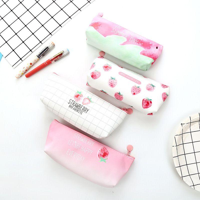 جميل الفراولة حقيبة التخزين كرتون مقلمة KAWAII القرطاسية الحقيبة حقيبة القلم متفرقات منظم ديكور المنزل