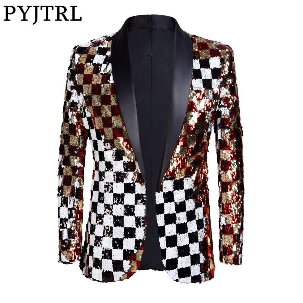 PYJTRL nuevos hombres de doble cara colorido plaid rojo oro blanco negro lentejuelas Blazer diseño DJ cantante traje chaqueta traje de moda