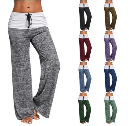 Adolenb Pantalones de Fitness de Yoga para Mujer Pantalones de Pierna Ancha Sueltos de Cintura Media con Cordones Pantalones