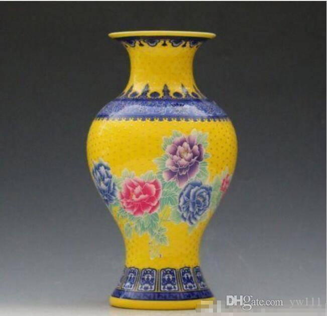 Commercio all'ingrosso - Porcellana Jingdezhen Famille Rose Porcelain Vaso di peonia dipinto a mano 01