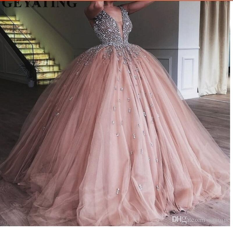 Champagne Tulle Ball Gown Evening Dress 2018 Long Elegant Women Quinceanera Dress Heavy Beaded Crystal Deep V-Neck Sweet 16 Dresses