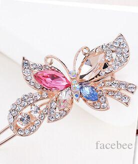 Fashion Women Crystal Diamond Butterfly Hairpins Hair Clip Barrette Hair Band Accessories 4 Colors free shipping zzh