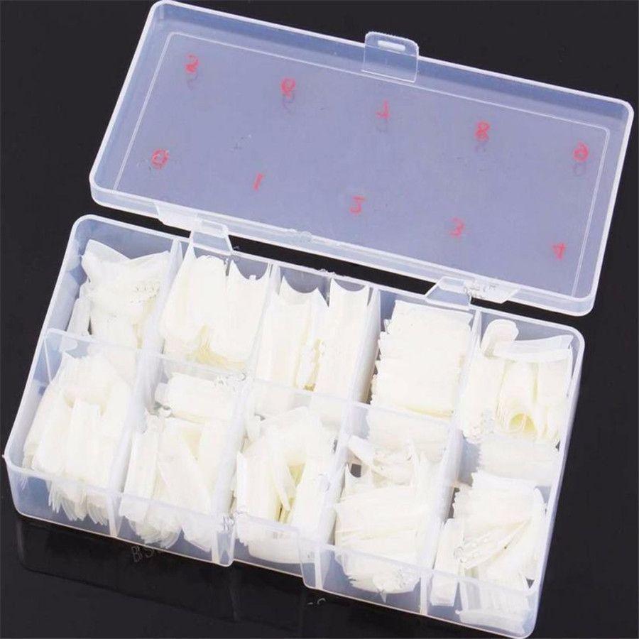Kutu 500 Adet Temizle Beyaz Doğal Fransız Yanlış Akrilik Nail Art İpuçları UV Jel DIY Aralık 18