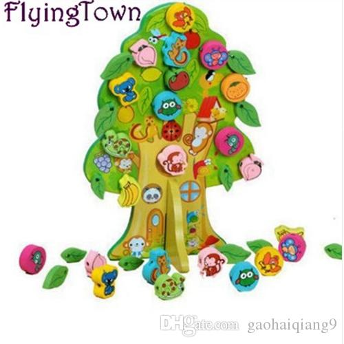 حيوانات وأشجار الفاكهة ألعاب خشبية الرياضيات للأطفال طفل مونتيسوري ألعاب تعليمية تعلم لعب brinquedos الأطفال ما قبل المدرسة