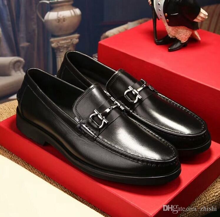 디자이너 신발 더그 금속 버클 드레스 가죽 신발 상단 레이어 가죽 신발 청소년 인기 로고 남성 정장 신발 웨딩 G3,13