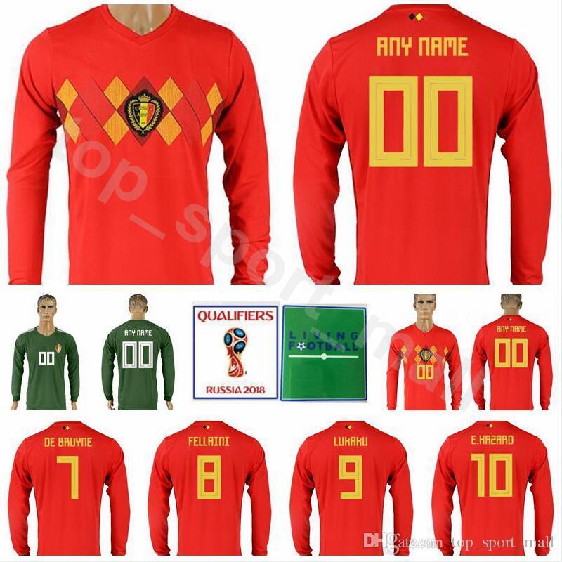 new styles a4884 c75e4 2019 Men Belgium Long Sleeve Jersey 2018 World Cup Soccer 7 DE BRUYNE 4  KOMPANY 10 HAZARD Football Shirt Kits 9 LUKAKU 8 FELLAINI National Team  From ...