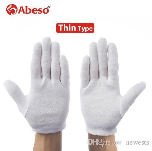 ABESO 12 زوج / وحدة الأبيض 100 ٪ قفازات القطن الاحتفالية للذكور التي تخدم / النوادل / السائقين / مجوهرات قفازات A6001