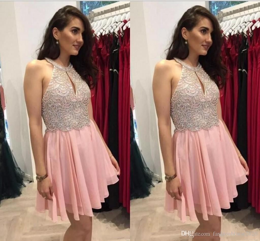 2018 Short Mini Pink A Line Homecoming Dresses Jewel Neck Keyhole Lace Beaded Crystal Backless Chiffon Cocktail For Juniors Prom Party Gowns