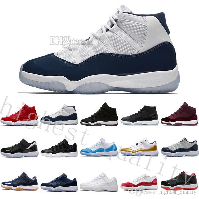 11 Mens Basquete Sapatos Ginásio Vermelho GS Heréia Negada Meia-noite Ganhe como 82 96 Criado 72-10 Concord Space UNC 45 Barões Moon Sports Sneakers
