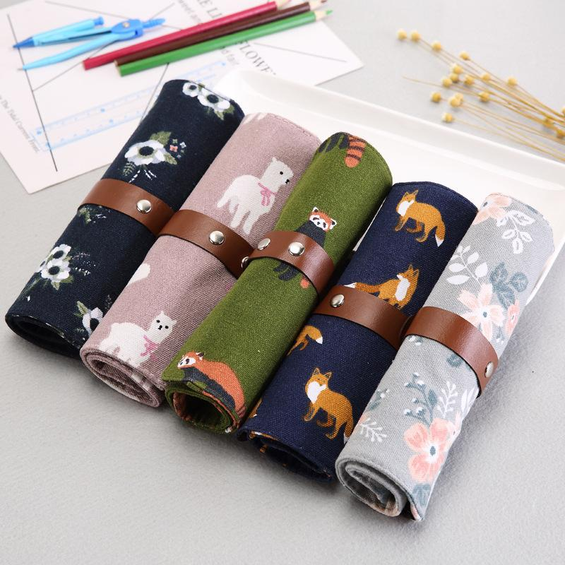 Cute rolls, pen bags, canvas, curtains, dual-purpose, versatile, creative student personality pencil bag stationery bag