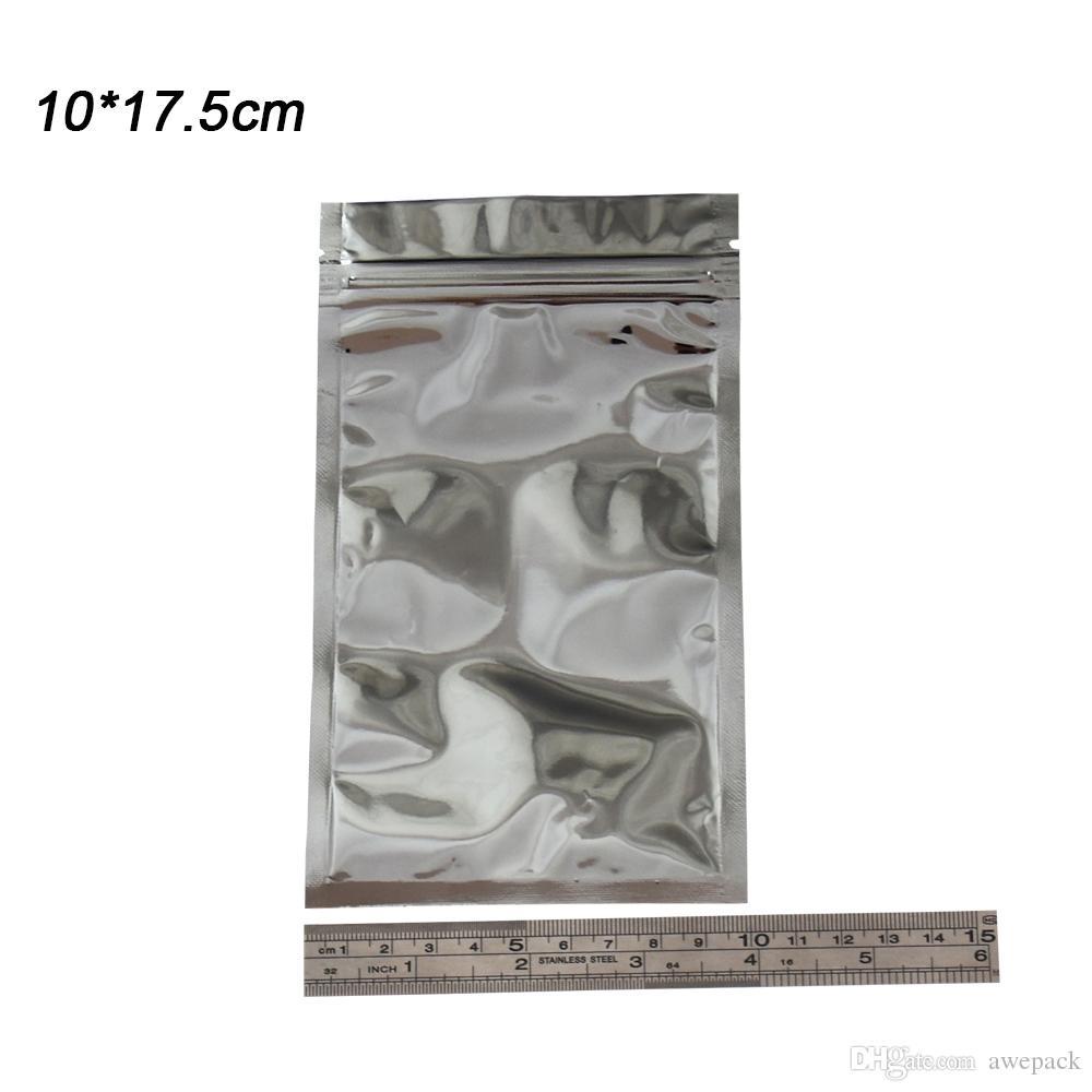 100 pezzi 10 * 17.5 cm trasparente anteriore argento alluminio foglio Mylar imballaggio borse vendita al dettaglio trasparente plastica cerniera zip blocco imballaggio cibo grado confezione sacchetto