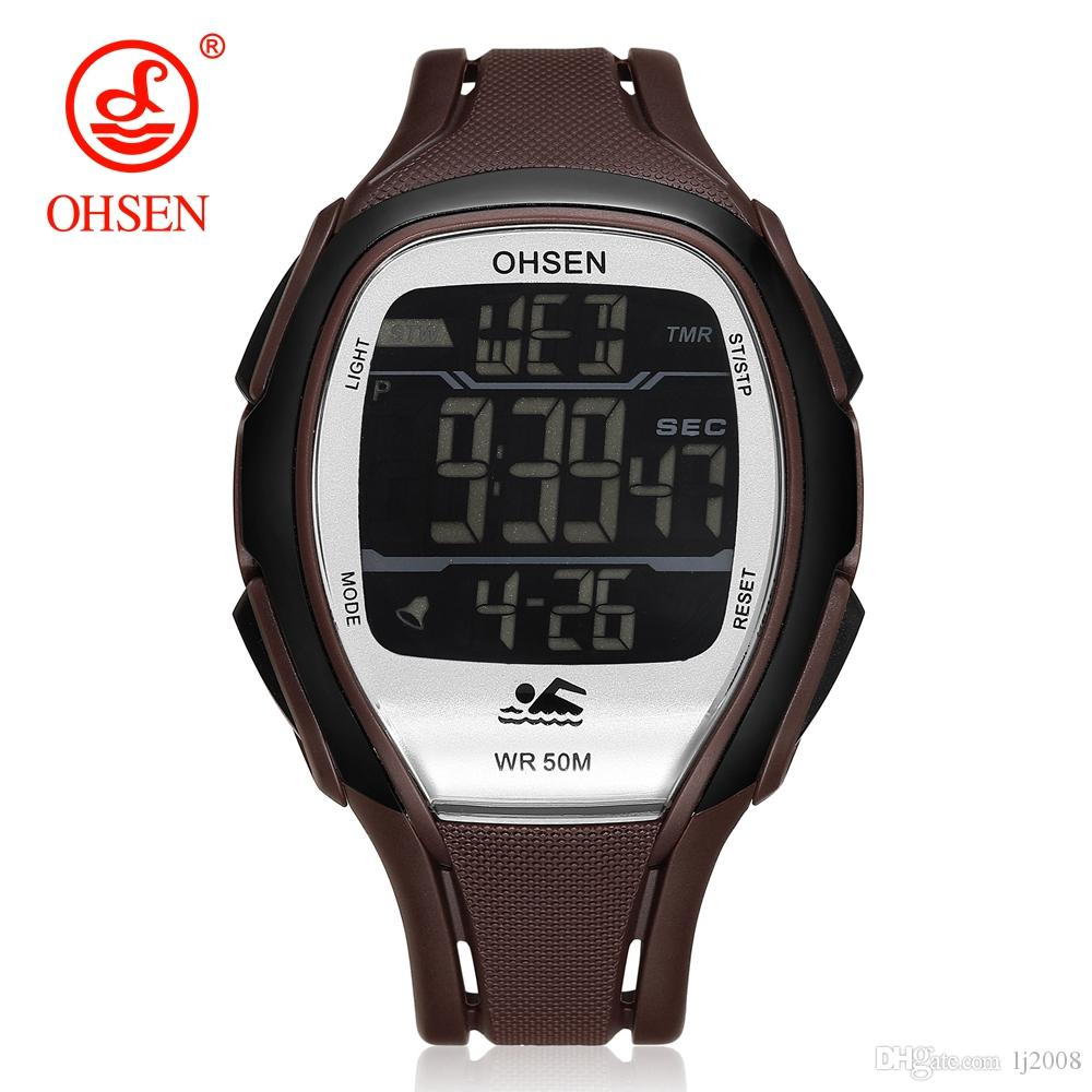 2018 NEW Original OHSEN Sports Watch Digital Watch Men LED Rubber Band Waterproof Wristwatches Date Day Alarm Man Watch Relogios