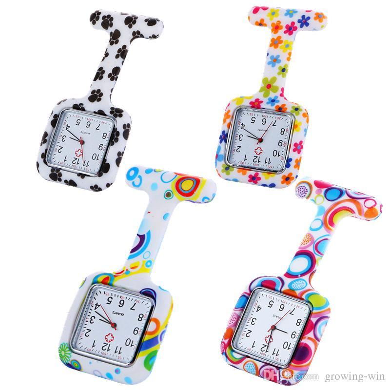 Dial-Platz Art und Weise Unisex Krankenschwester-Doktor-Gelee-Silikon-Gummi Tarnung Quarz Zebra-Leopard-Drucke Taschen Süßigkeiten medizinisches Geschenk Uhren