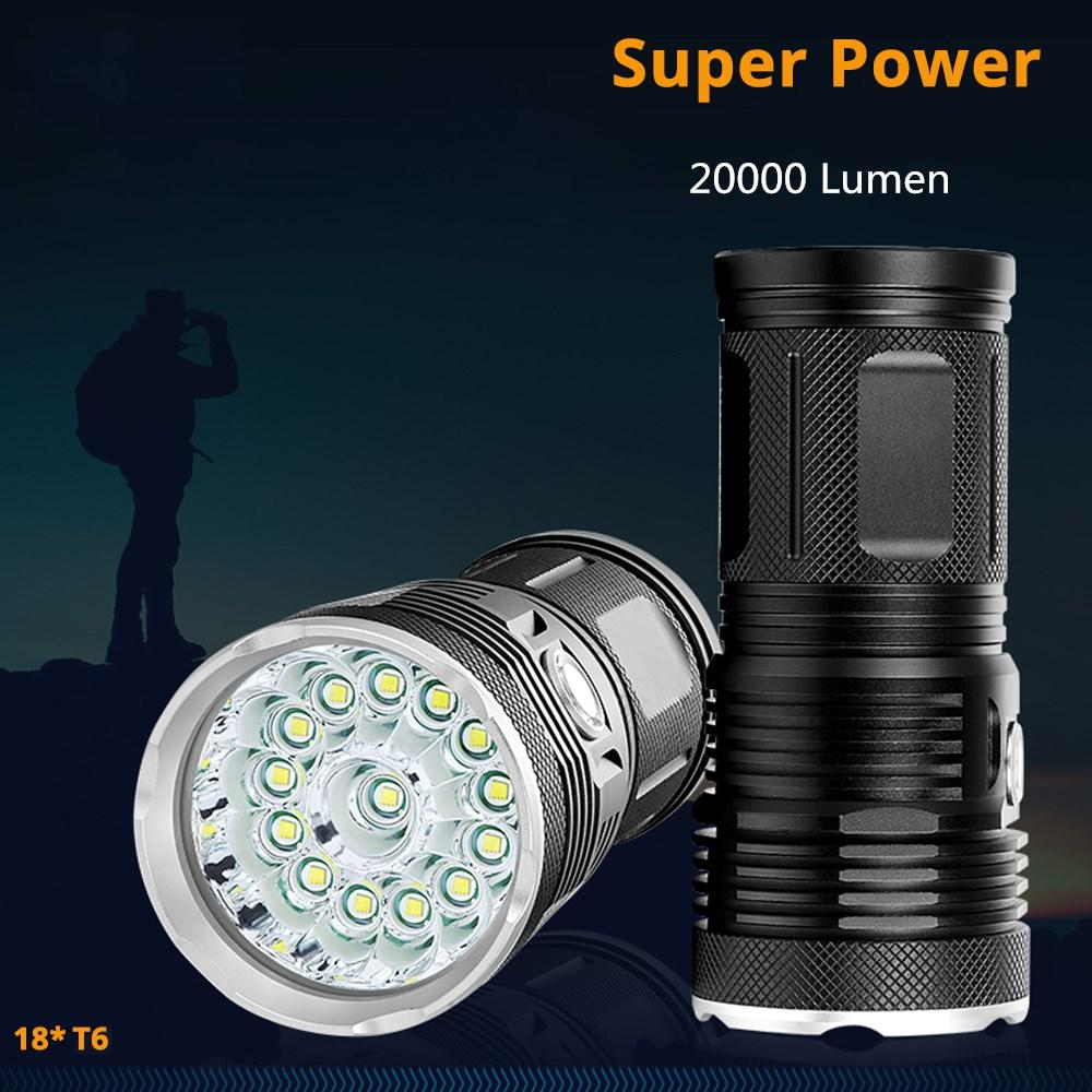 20000Lums High Powerful LED Flashlight 18 *T6 LED torch Flash light waterproof Searchlight Lamp with 4*18650 Battery+charge