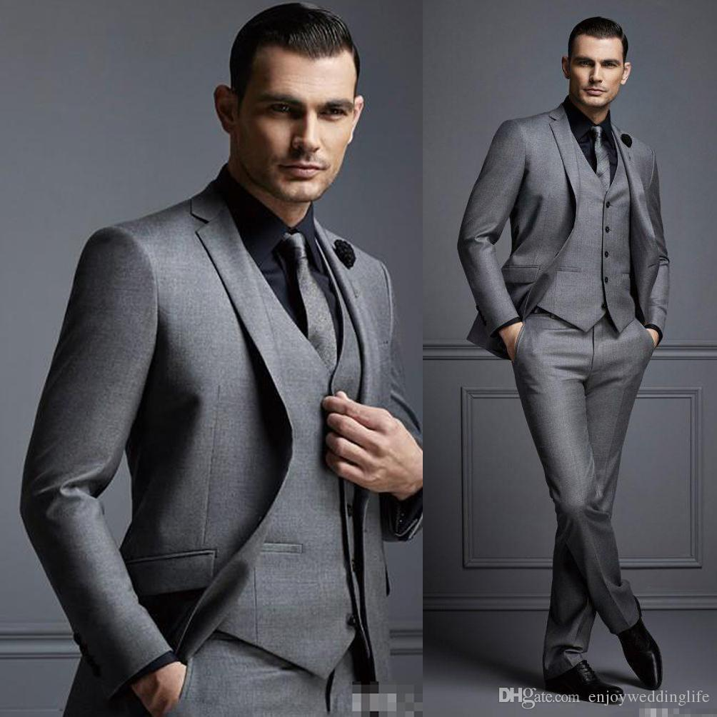 New Grey 3 Piece Mens Suit Groom Suit Cheap Formal Man Suits for Wedding Best Men Slim Fit Groom Tuxedos for Man(Jacket+Vest+Pants)