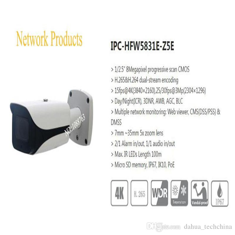 In Stock IP Camera CCTV 8MP IR Bullet Network Camera with POE IP67 IK10 Without Logo IPC-HFW5831E-Z5E