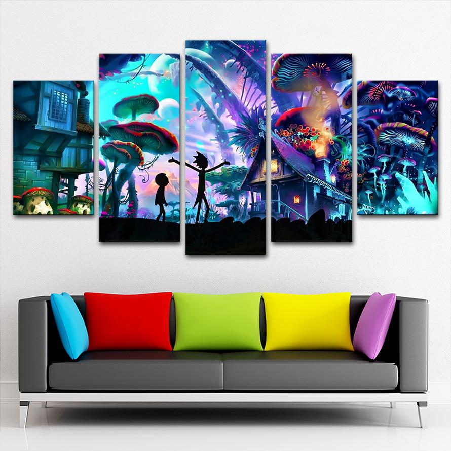 Rick And Morty 5 Panels Canvas Painting Poster Wall Art Painting Modern Home Dec