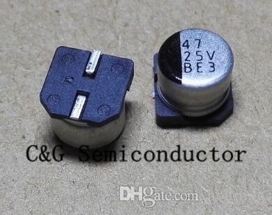 100 SZTUK 25V 47UF SMD 6x5mm Aluminiowy kondensator elektrolityczny