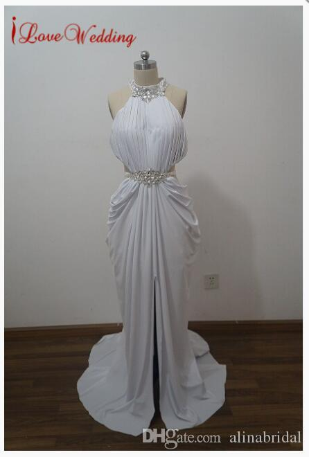 Hot Sale Trumpet Mermaid High Neck Evening Dress Beaded Rhinestone White Prom Dresses Sexy Long Women Evening Gowns Real Sample