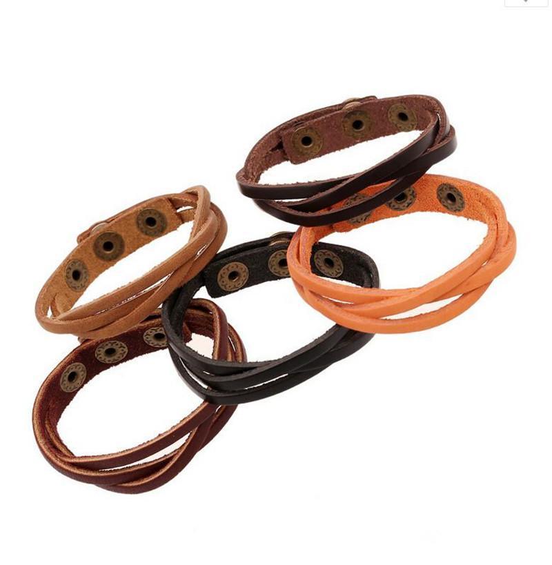 متعدد الطبقات التفاف الرجال والنساء الجلود الاصطناعية مضفر حبل قابل للتعديل سوار Cusual Sport 50PCS اكسسوارات للشعر
