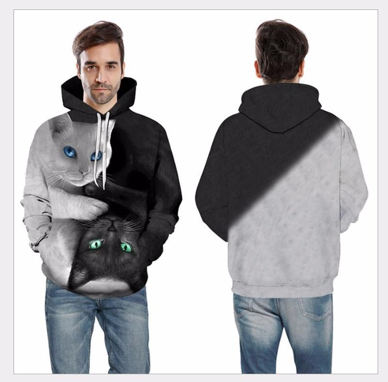 Men jackets 3D digital printing couple cat popular sweater, hooded casual slim fashion sweater