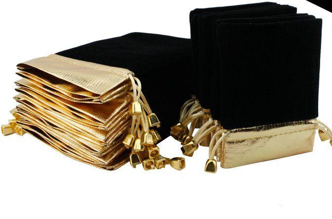 100 pcs lado de Ouro PRETO de Veludo Com Cordão Bolsa Bag / Saco de Jóias de Natal / Sacos de Presente de Casamento