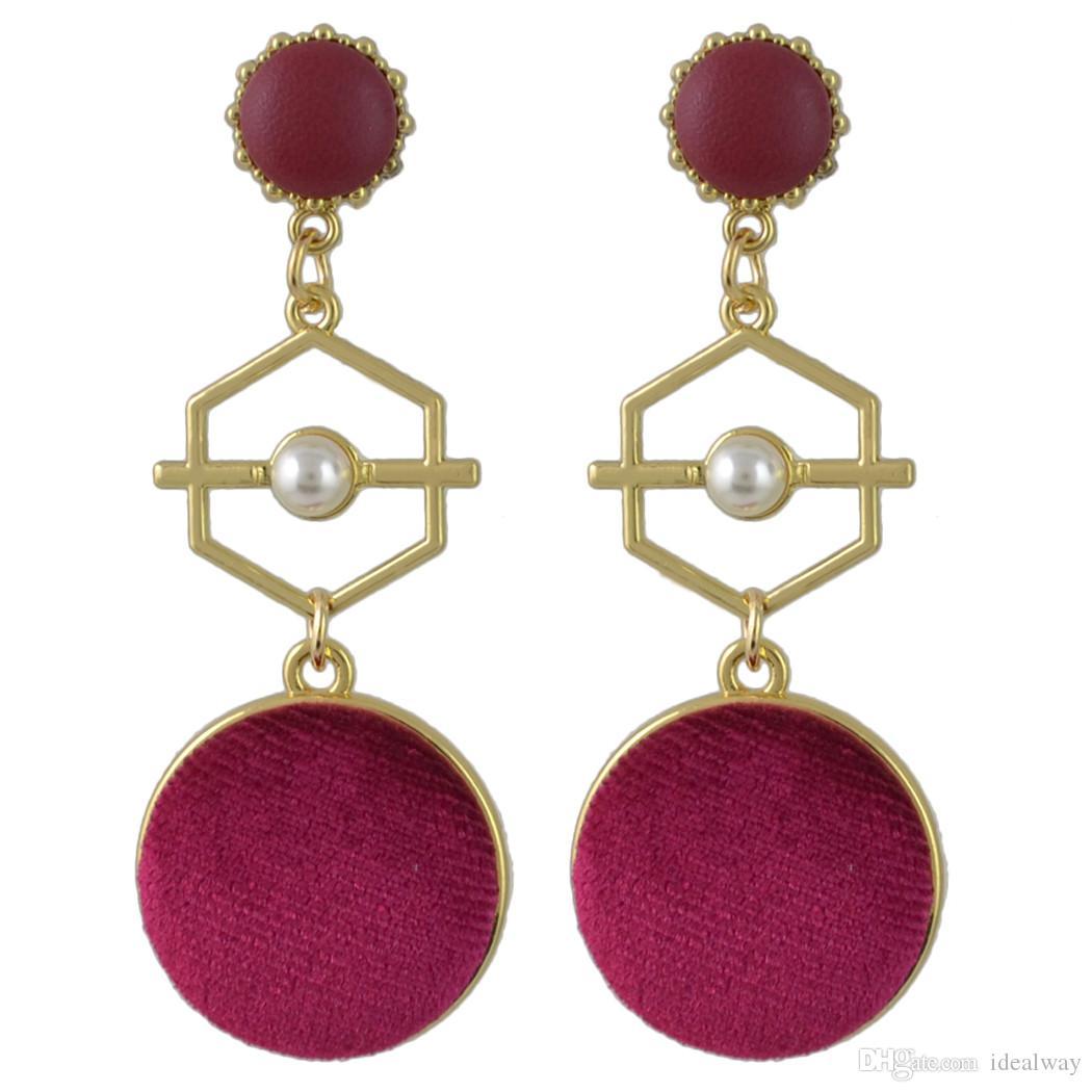 3 Farben Gold Metall Samt Ball Lange Ohrringe für Frauen Damen Party Mode-Accessoires