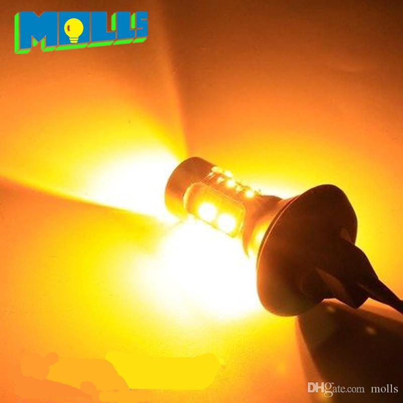 Molls led 7440 T20 WY21W luz del coche DRL Luz de circulación diurna señal de giro delantera todo en uno