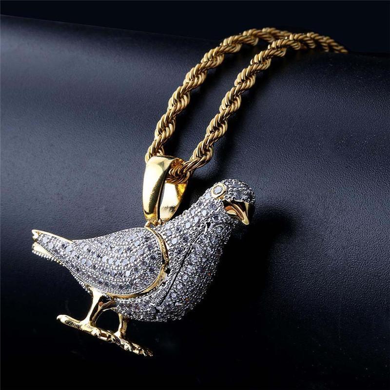 Hip Hop Jóias Iced Out Pigeon Colar Pingente Com Corrente de Ouro para Homens Micro Pave Zircon Animal Colar