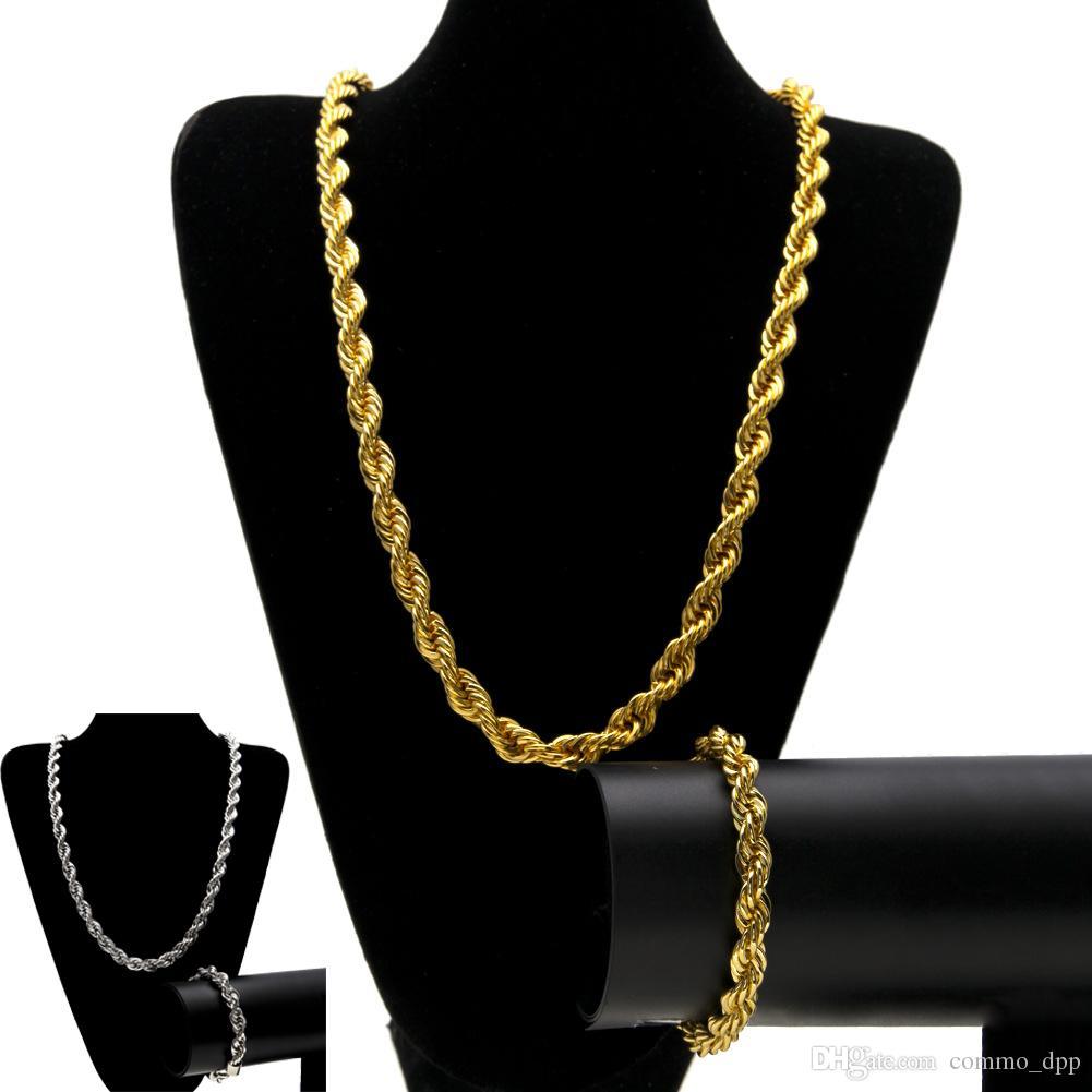 10 MM Hip Hop Chaînes De Corde Torsadée ensemble de bijoux Or Argenté Épais Lourd Lourd Long Collier Bracelet Bracelet Pour Hommes s Rock Bijoux