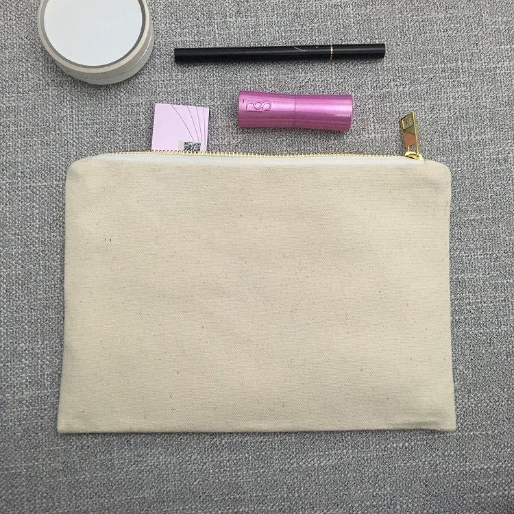 Bolsa de maquillaje de lona en blanco Bolsa de cosméticos de lona natural Bolsa de tocador 100% algodón gris Estuche de maquillaje de viaje grande Bolsa de regalo de damas de honor rosa claro