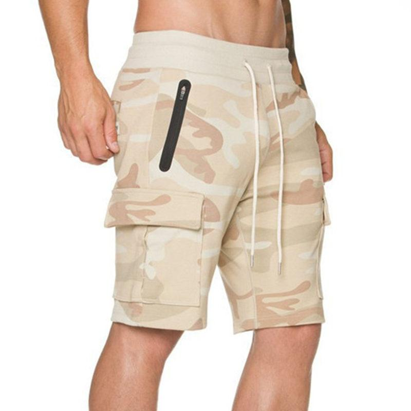 Hot New Men Pantalones cortos de culturismo Jogger Camuflaje Algodón Gimnasios Gimnasio Pantalones cortos Boy Casual Moda Hasta la rodilla Sweatpants Correr