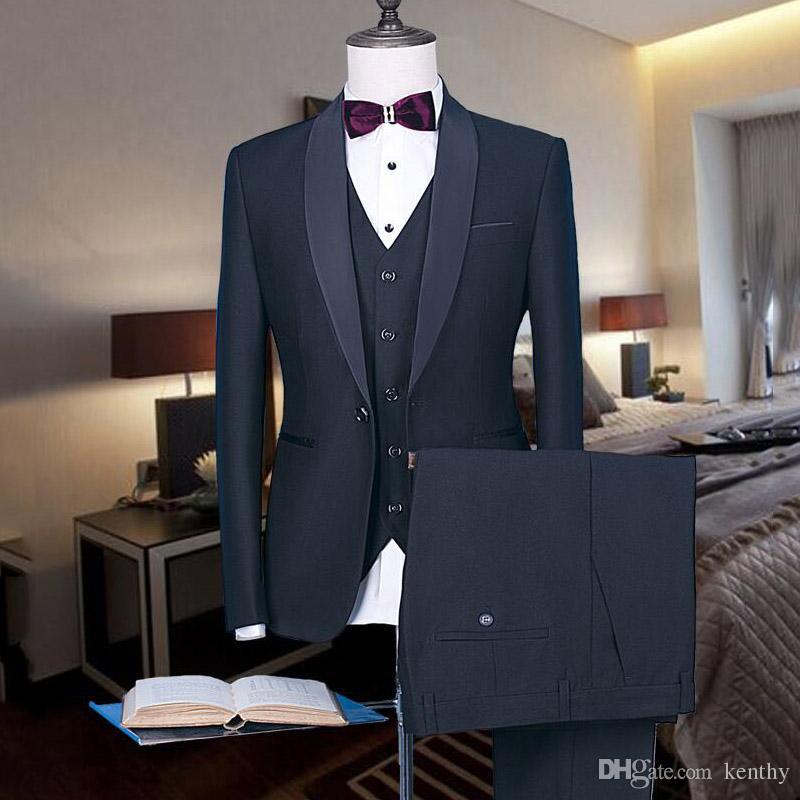 2018 Мужские костюмы черный шаль лацкане Бизнес Свадебные костюмы Простой на заказ смокинги Формальная Blazer Slim Fit 3шт выпускного вечера платья шафером