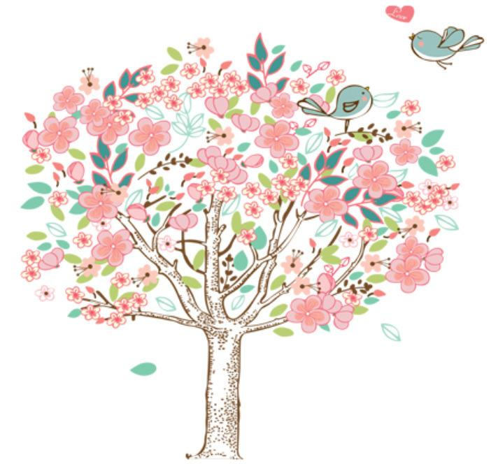 Large Size Pink Tree and Birds Wall Sticker DIY Vinyl Wall Decal for Girls Room and Nursery Decor