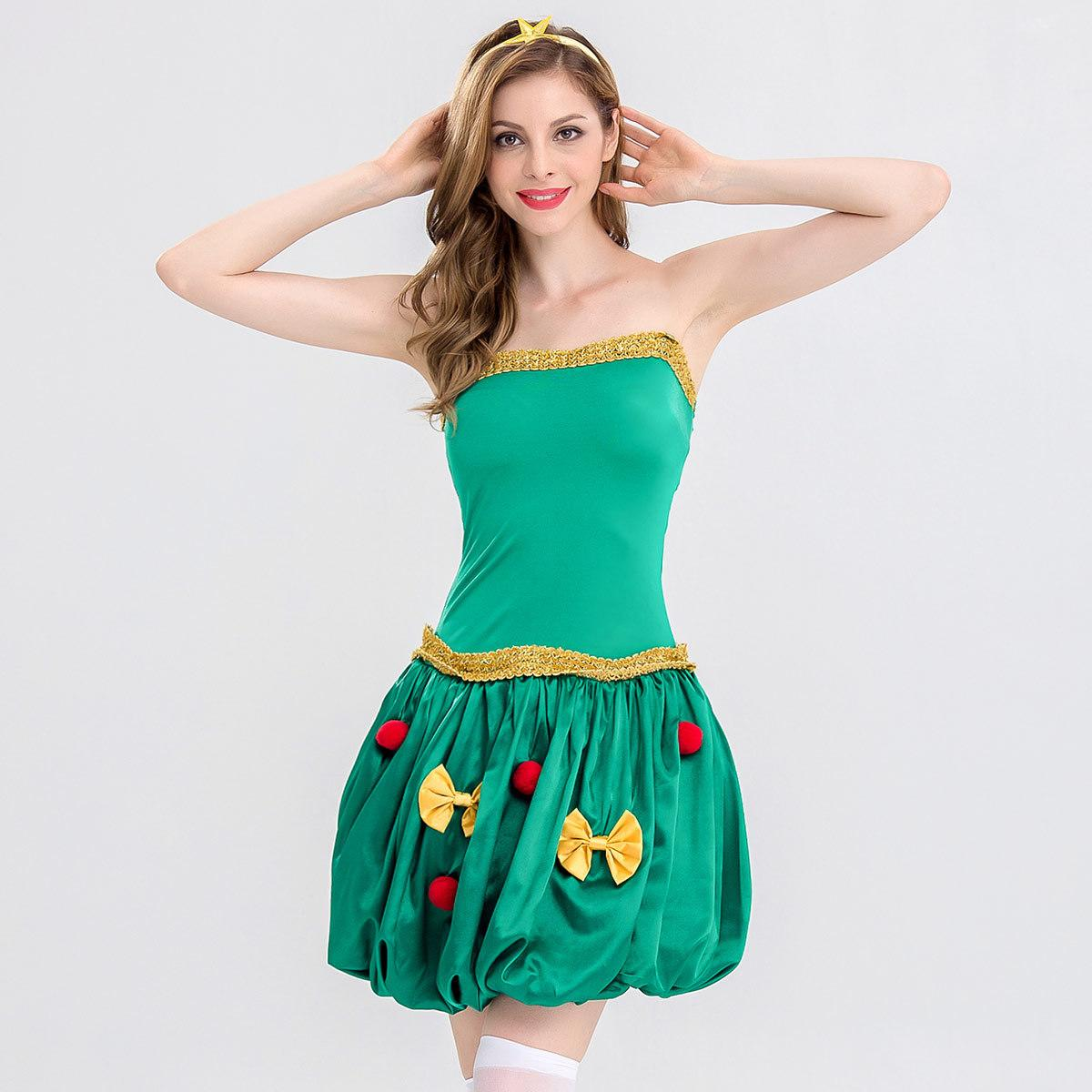 2018 NightClub Bar Party Seduction of Uniform Sexy Green Bow Christmas Santa Claus Cospaly Costume DS Stage Dress Disco Holiday Coat 8320
