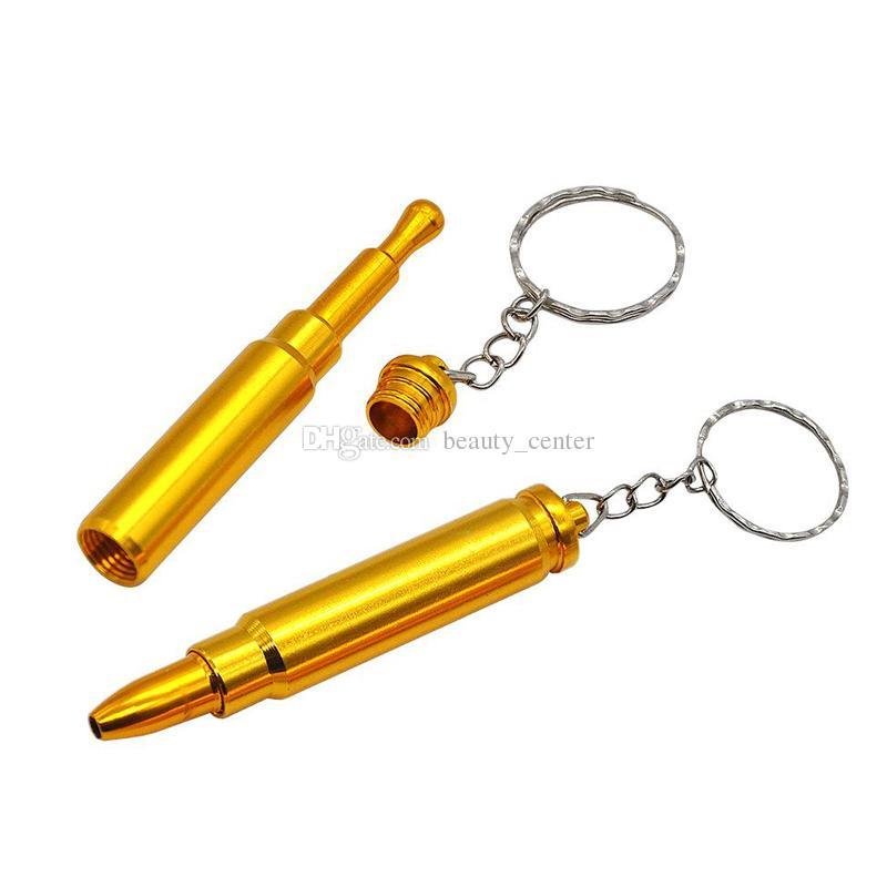 حار 70 ملليمتر رصاصة الشكل تدخين التبغ الأنابيب البسيطة رصاصة معدن الذهب الأنابيب مرشح مع مفتاح سلسلة رئيس مسدس مسدس أنابيب اليد شحن مجاني