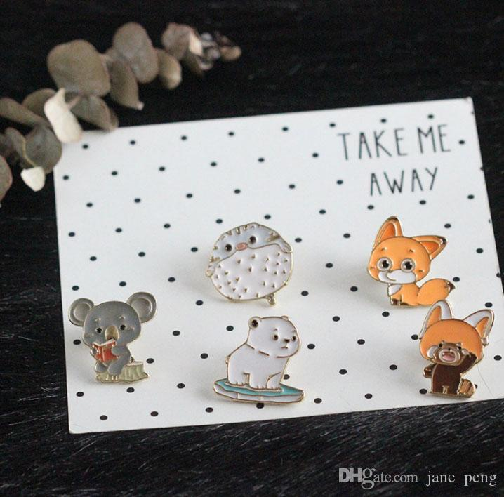 Japanese Soft Cute Animal Fox Raccoon Hard Enamel Brooches Pins Lapel For Children Clothes Backpack Bag Jacket Badge Wholesale Drop Ship