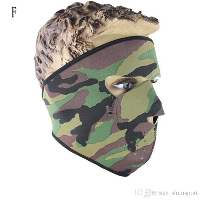 Windproof Neoprene face mask sports full face masks Motorcycle Bike Ski Snowboard cycling skull face masks Camo color