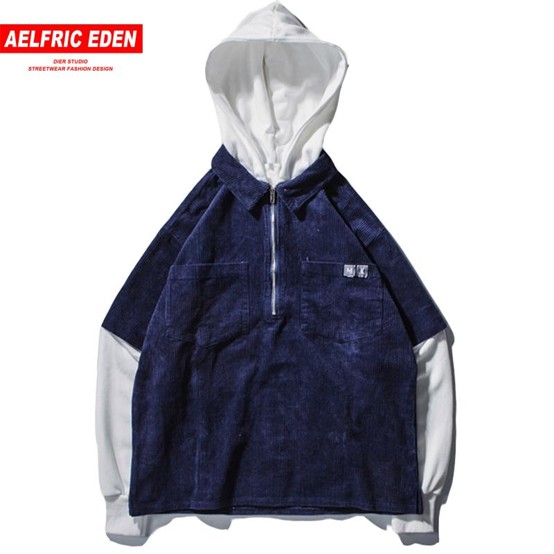 Aelfric Eden Corduroy Color Block Casual Sweatshirts Streetwear Men Hooded Half Zip Fashion Hoodies Outwear Thick Clothing Et21