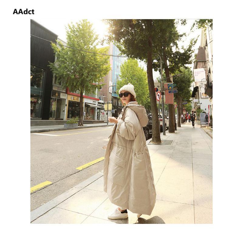 AAdct 2018 parka invernale da donna in piumino cotone giacca coreana super lungo ginocchio in cotone allentato