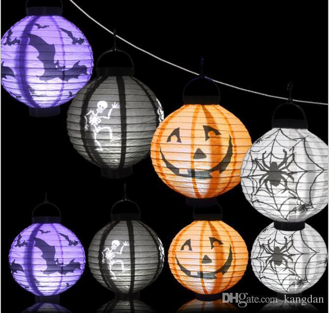 Decoração de Halloween LEVOU Abóbora De Papel Luz Pendurado Lâmpada Lanterna Halloween Adereços Fontes Do Partido Ao Ar Livre Bar iluminado lanternas de crânio